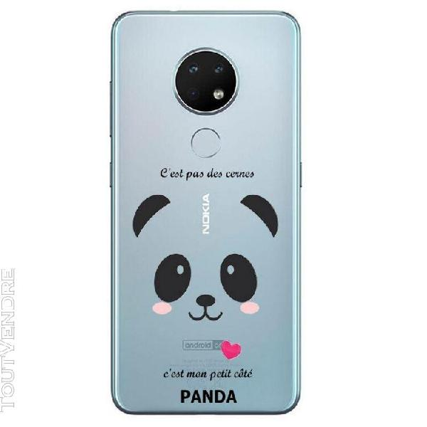 Coque nokia 6.2 7.2 panda coeur rose cute kawaii transparent