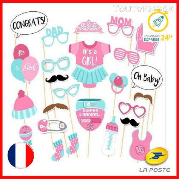 Photobooth diy - baby shower pour fille fête accessoires 25