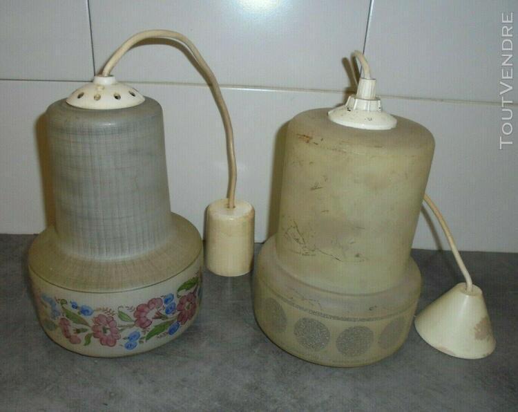 Vintage lot 2 ancien luminaire suspension lustre cuisine hal