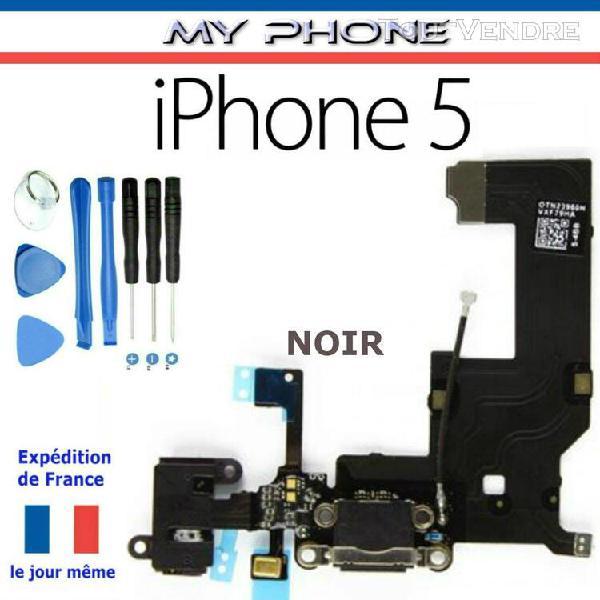 Connecteur de charge pour apple iphone 5 noir + micropho