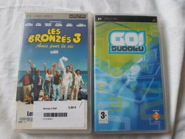 Lot film psp umd + jeu psp (les bronzés 3 + go sudoku)