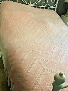 Ancienne couverture plaid dessus de lit en laine tissée 2