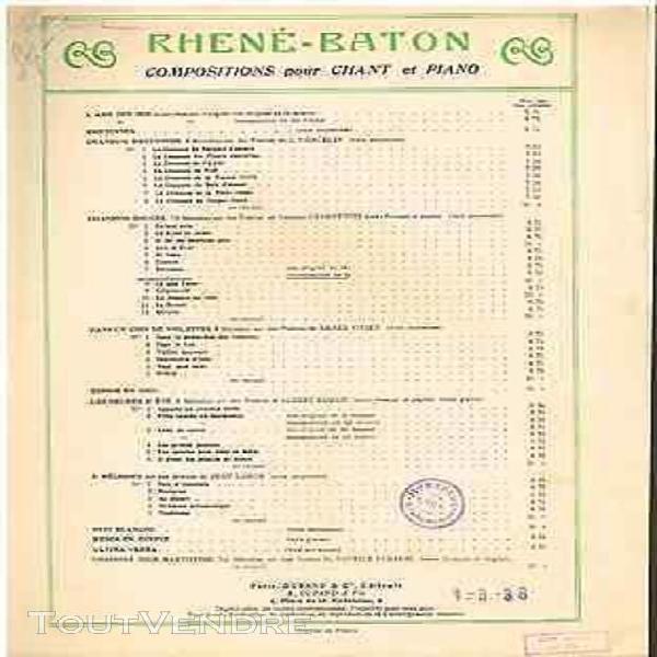 Rhené-baton berceuse cradle song partition chant & piano