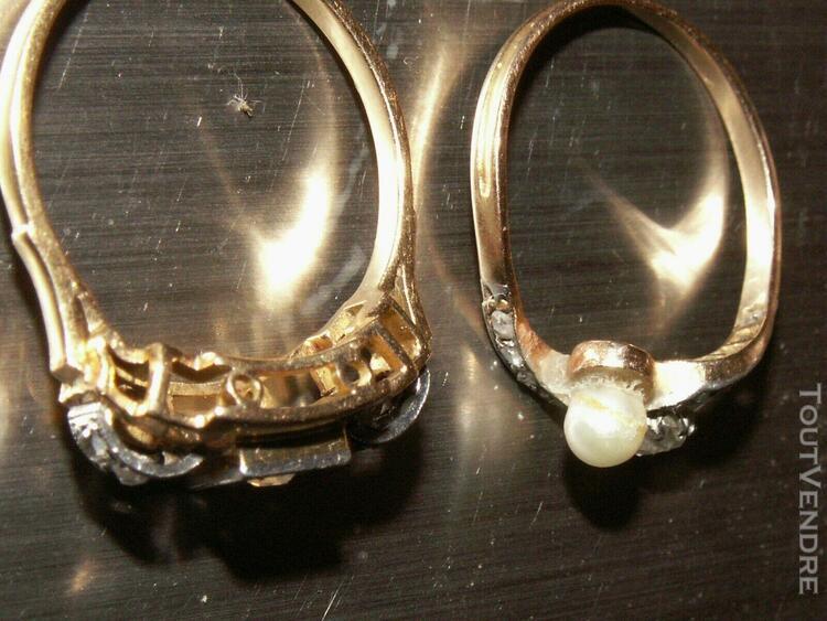 2 bagues anciennes or 18 k. diamants blanc et perles superb