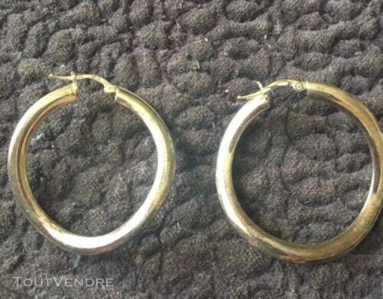 Boucles d'oreilles créoles, forme en spirale, argent 925