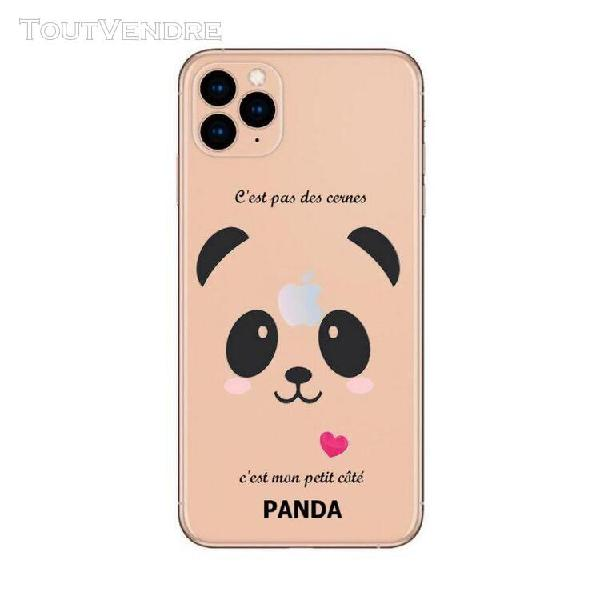 Coque iphone 11 panda coeur rose cute kawaii transparente