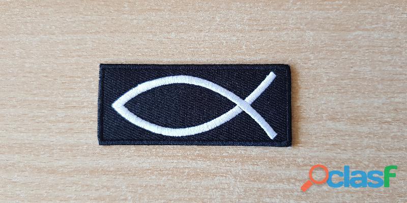 Ecusson brodé poisson évangéliste 7x3 cm thermocollant, pas besoin de couture