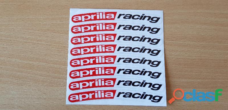 Autocollant sticker de jante x8 aprilia racing 13x1 cm