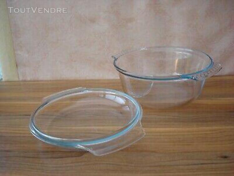 Grande cocotte ronde pyrex france en verre trempé+couvercle