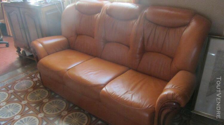 Canapé bois et cuir marron 3 places