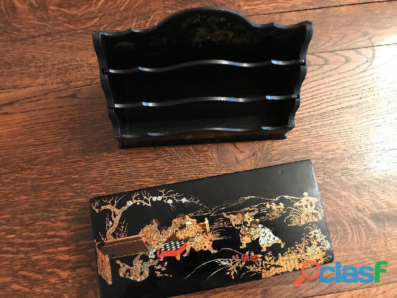 Porte lettres ancien bois laqué chinois 6