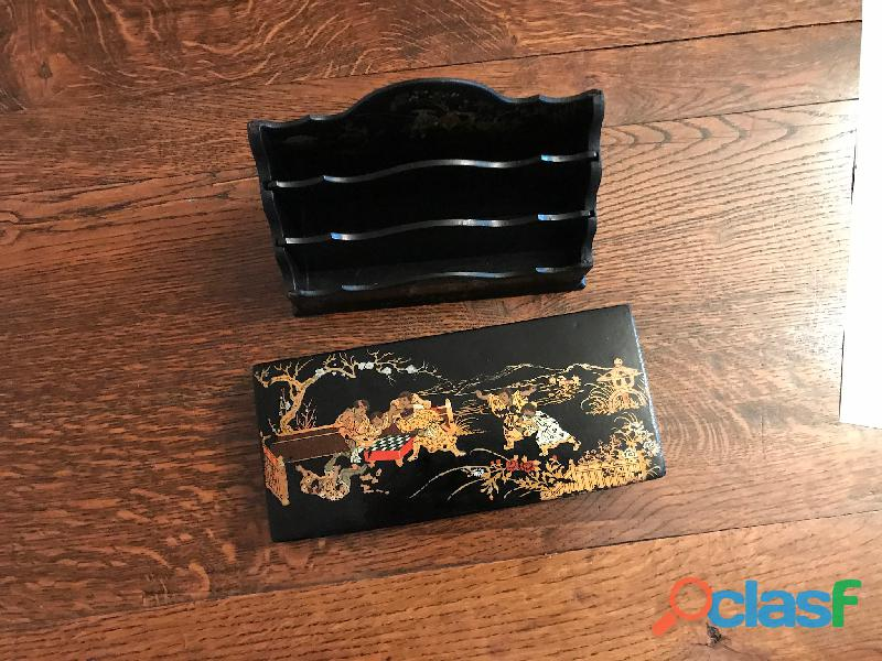 Porte lettres ancien bois laqué chinois 5