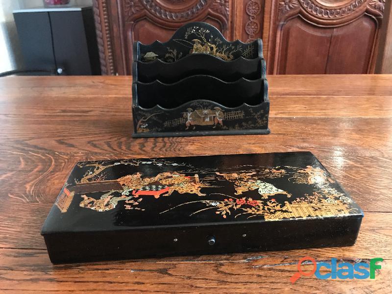 Porte lettres ancien bois laqué chinois 4