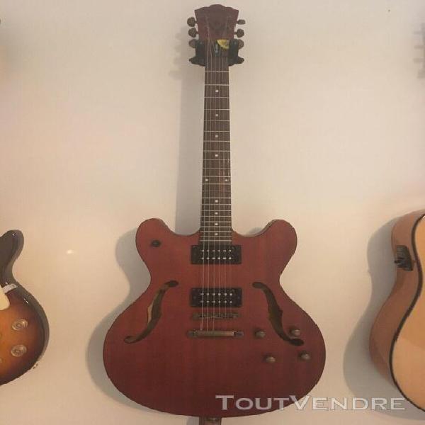 Guitare électrique washburn quart de caisse marron, très