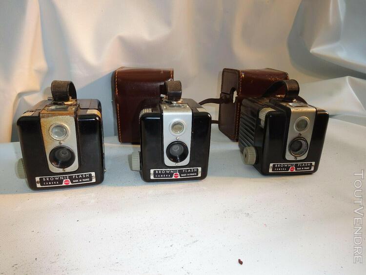 Lot de 3 kodak brownie flash collection appareil photo 1950'