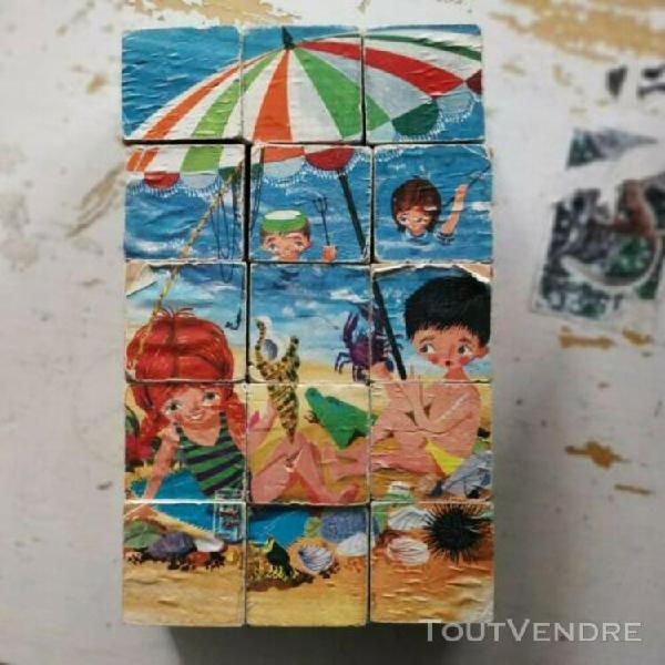 Ancien jeu de cubes en bois