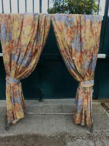 Double rideaux doubles imprimes motifs fleurs –