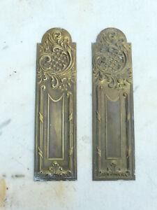 2 anciennes plaques proprete laiton deco porte ancienne