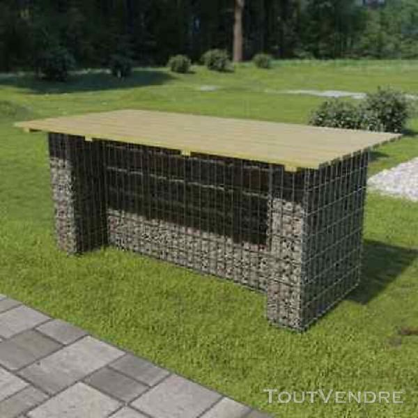 table de gabion acier galvanisé et pinède fsc 180x90x74 cm