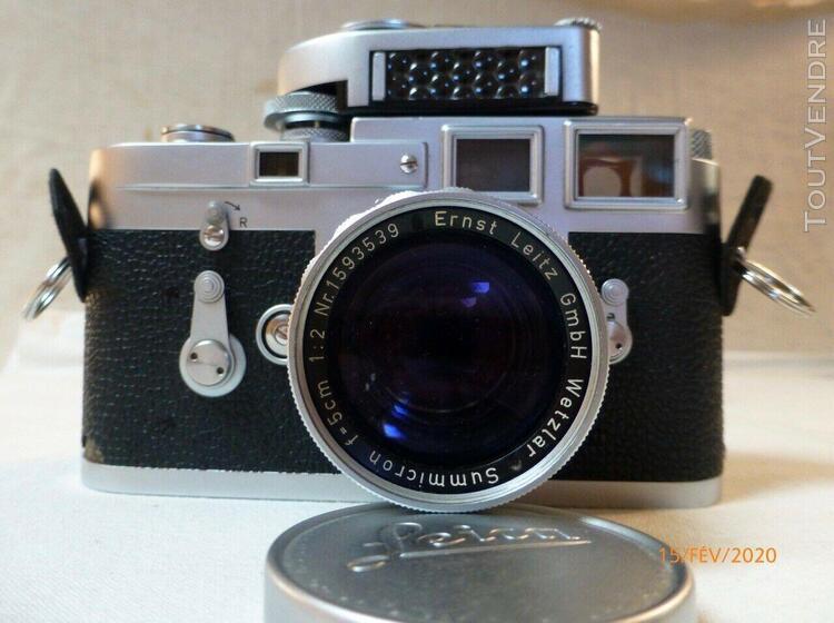 appareil leica m3 - chromé - summicron 1:2 / 50 mm- leica