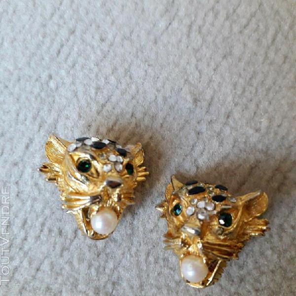 Boucles d'oreilles clips vintage panthere metal doré strass