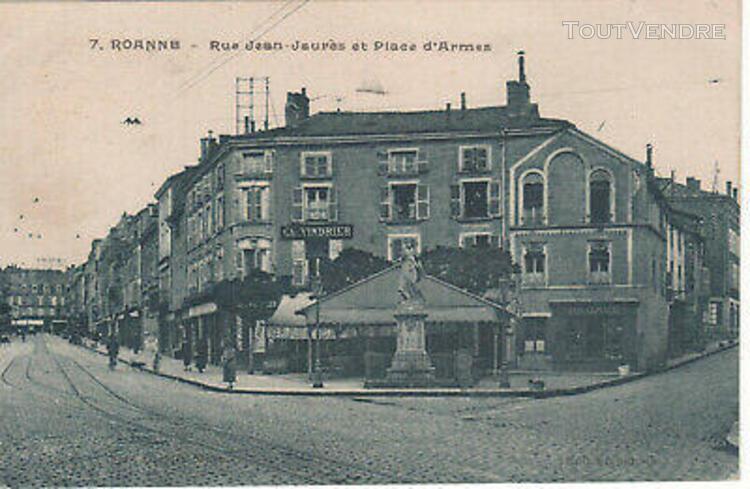 cpa - roanne (42 loire) - rue jean jaurÈs et place d'arme -