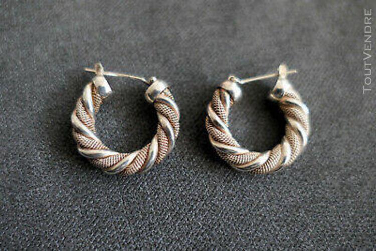 Superbe et ancienne paire de boucle d'oreille créoles en