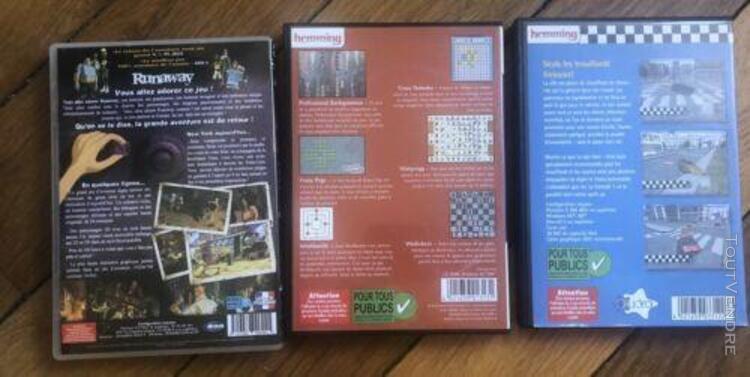 Lot de 3 jeux pc cd rom runaway - jeux de societe - super ta