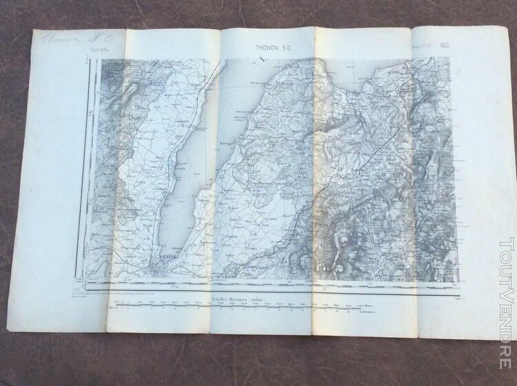2 belles cartes État-major 1/80.000e 1889 thonon et thonon