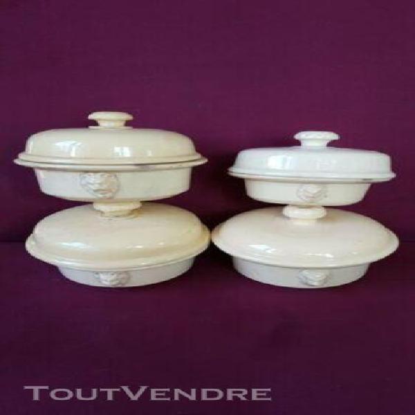 4 anciennes terrines À foie gras tête de lion faïence