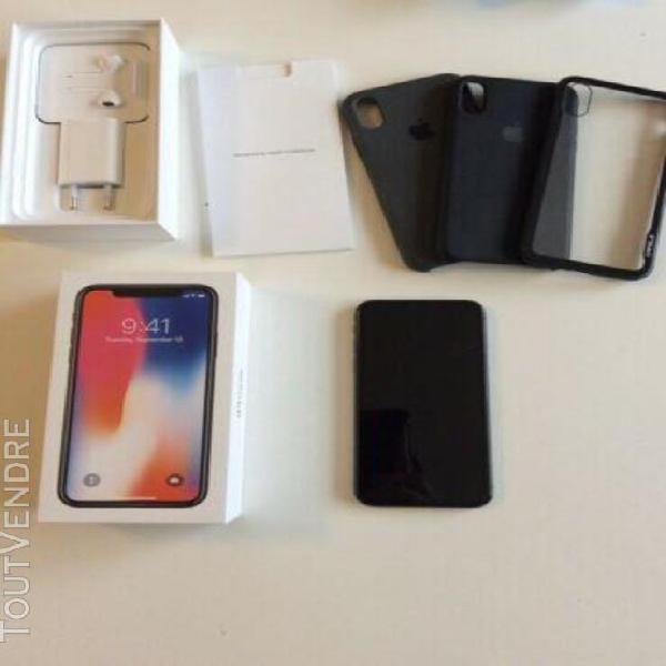 iphone x 64go gris sideral avec boite et accessoires