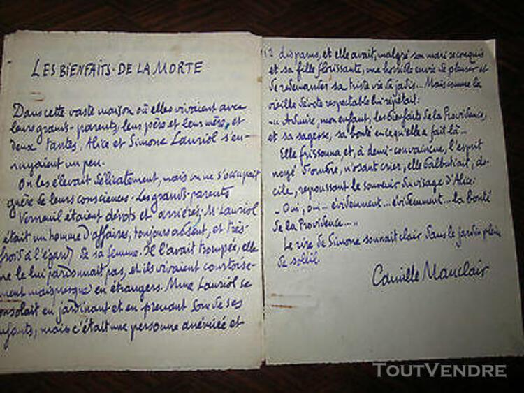 manuscrit littéraire camille mauclair(les bienfaits de la
