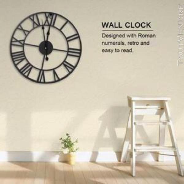60cm horloge murale ronde antique industrielle en métal