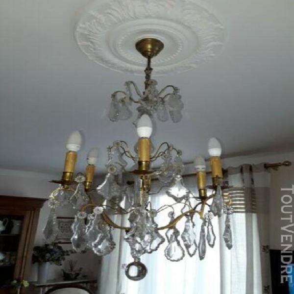 Ancien lustre à pampilles 6 ampoules (0,50 m de largeur x