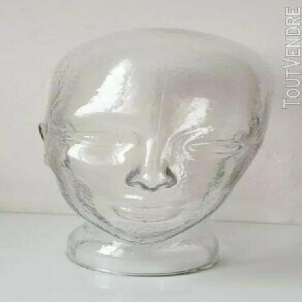 Vintage tête à chapeaux verre mannequin head caps wigs