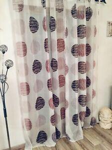 Paire rideaux voilage imprimé 140x240cm blanc, beige et