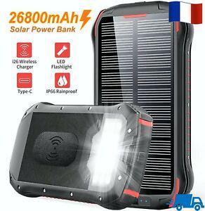 Chargeur solaire 26800mah batterie externe portable qi power