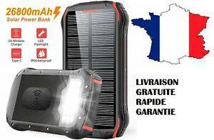 Chargeur solaire rapide iphone batterie externe portable