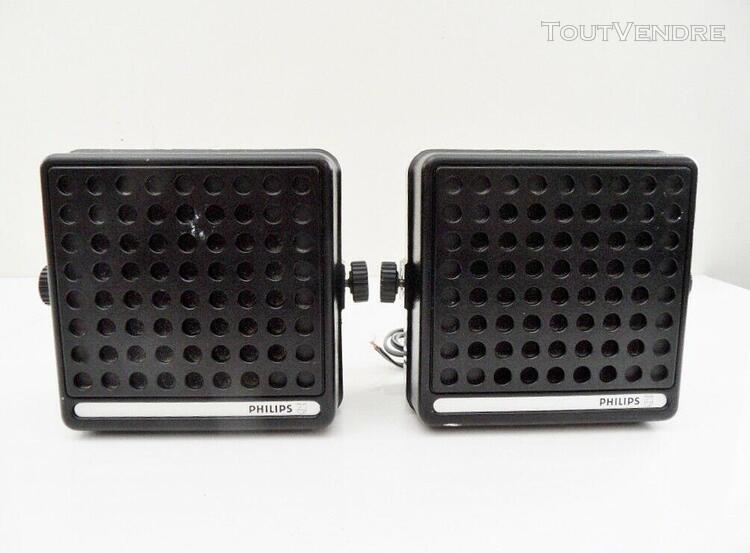 """Paire de haut-parleurs vintage hp enceintes speaker """"philips"""