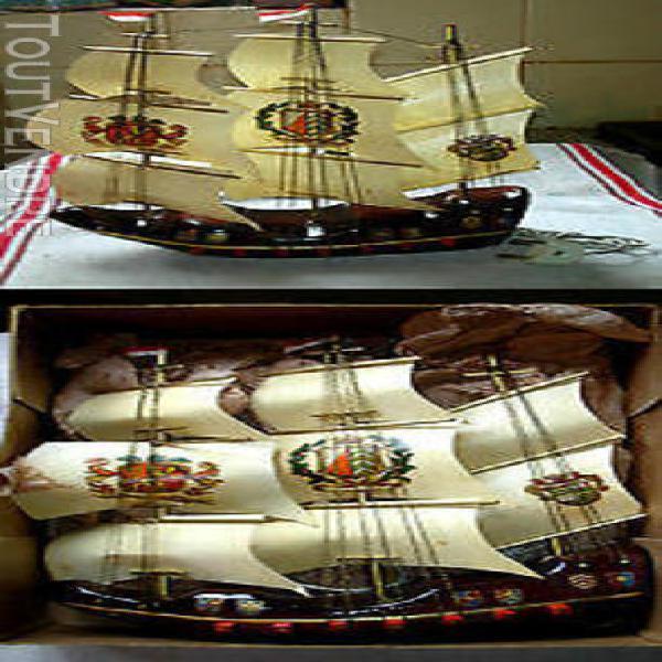 Vintage lampe voilier bateau hollande en bois 24 x 30 cm t