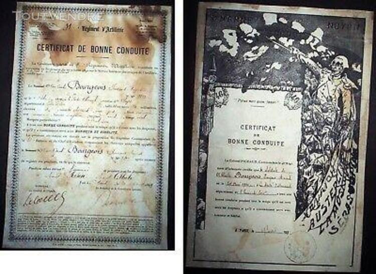 Certificats de bonne conduite (1899 et 1932)