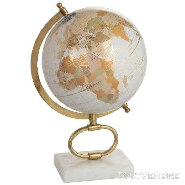 Décoration globe terrestre pied en marbre