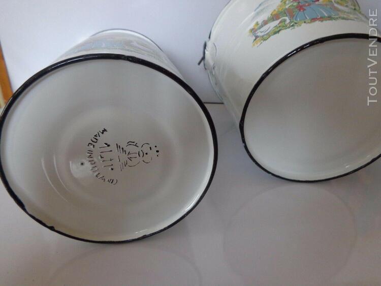 Pot bidon à lait en tôle émaillée -+ petit seau -