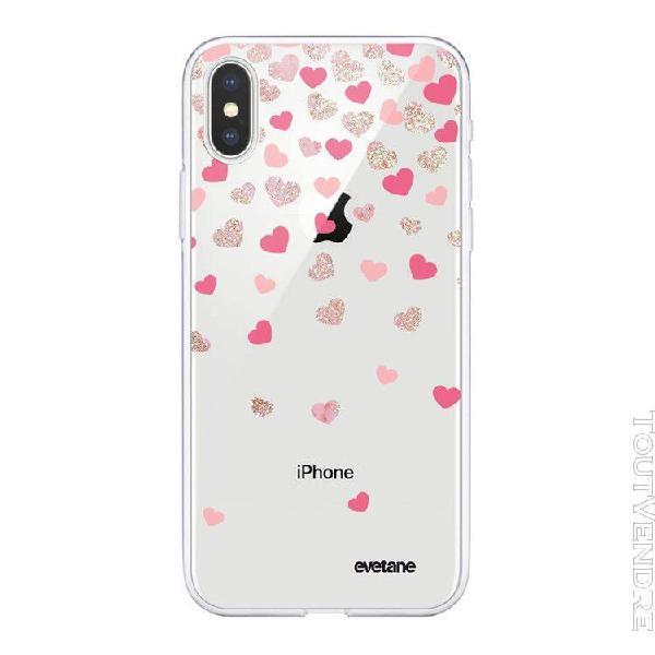 Coque iphone xs max 360 intégrale coeurs en confettis
