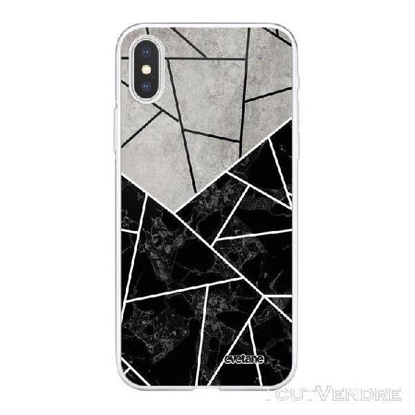 Coque iphone xs max 360 intégrale duo noir-gris marbre