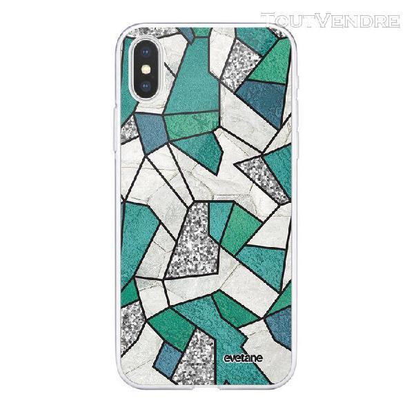 Coque iphone xs max 360 intégrale marbre bleu vert et gris