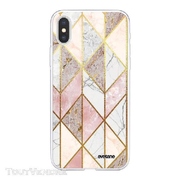 Coque iphone xs max 360 intégrale marbre rose losange