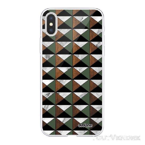 Coque iphone xs max 360 intégrale marbre vert kaki bois