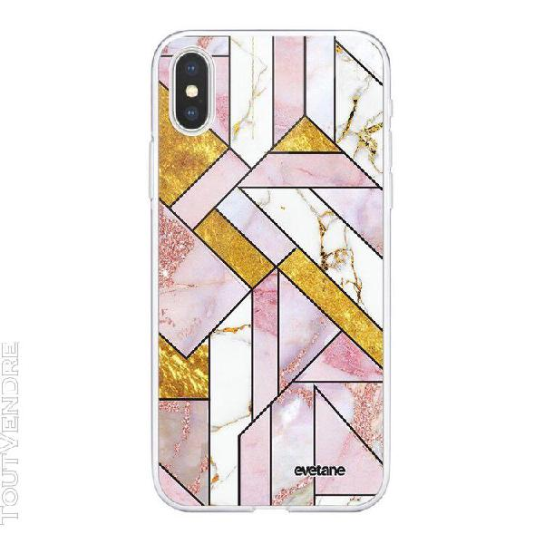Coque iphone xs max 360 intégrale rose doré marbre