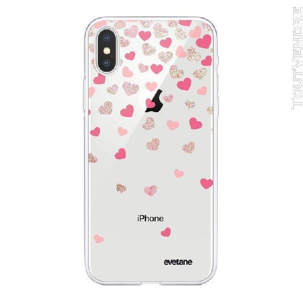 Coque iphone xs max souple transparente coeurs en confettis